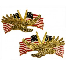Right/Left emblem set, screaming eagle with colonial and US flags